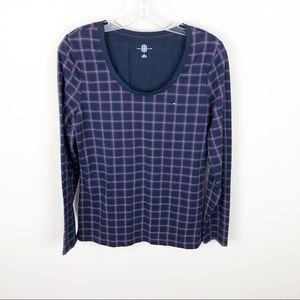 Tommy Hilfiger Plaid Scoop Neck Shirt Long Sleeve